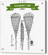 1950 Lacrosse Stick Patent Drawing - Retro Green Acrylic Print