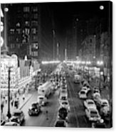 1950s 1953 Night Scene Of Chicago State Acrylic Print