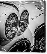 1950's Chevrolet Corvette C1 In Black And White Acrylic Print
