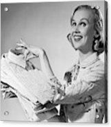 1950s Proud Smiling Woman Housewife Acrylic Print
