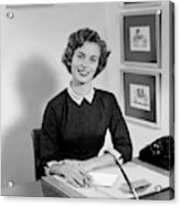 1950s Woman Sitting At Information Desk Acrylic Print