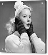 1950s Young Woman Pursing Lips Hands Acrylic Print