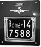 1951 Ferrari 212 Export Berlinetta Rear Emblem - License Plate -0775bw Acrylic Print
