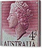 1952-1958 Australia Queen Elizabeth II Stamp Acrylic Print