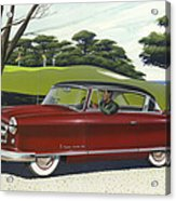 1953 Nash Rambler Car Americana Rustic Rural Country Auto Antique Painting Red Golf Acrylic Print