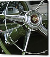 1953 Pontiac Steering Wheel Acrylic Print by Jill Reger