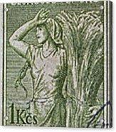 1954 Czechoslovakian Farm Woman Stamp Acrylic Print