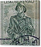 1954 Czechoslovakian Soldier Stamp Acrylic Print