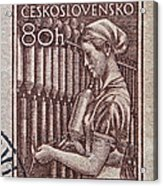 1954 Czechoslovakian Textile Worker Stamp Acrylic Print