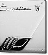 1954 Ford Crestline Skyliner Emblem -0560bw Acrylic Print
