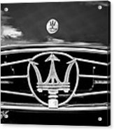 1954 Maserati A6 Gcs Grille Emblem -0259bw Acrylic Print