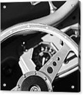 1954 Mg Tf Steering Wheel Emblem -0920bw Acrylic Print