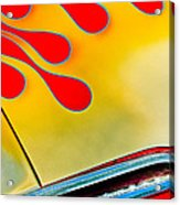 1954 Studebaker Champion Coupe Hot Rod Red With Flames - Grille Emblem Acrylic Print