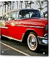 1955 Chevy Bel Air Down The Side - Red And White Acrylic Print