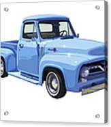 1955 Ford F100 Blue Pickup Truck Canvas Acrylic Print
