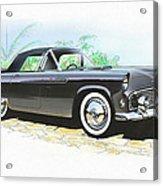 1956 Ford Thunderbird  Black  Classic Vintage Sports Car Art Sketch Rendering         Acrylic Print