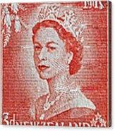 1956 Queen Elizabeth New Zealand Stamp Acrylic Print