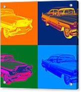 1956 Sedan Deville Cadillac Luxury Car Pop Art Acrylic Print