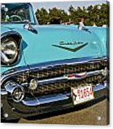 1957 Chevy Bel Air Blue Front Grill Acrylic Print