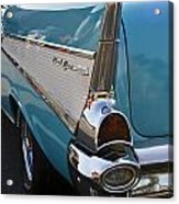 1957 Chevy Bel Air Blue Rear Quarter From Back Acrylic Print