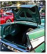 1957 Chevy Bel Air Green Rear Trunk Open Acrylic Print