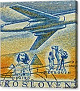1957 Czechoslovakia Airline Stamp Acrylic Print