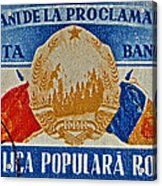 1957 Romanian Coat Of Arms And Flags Stamp Acrylic Print