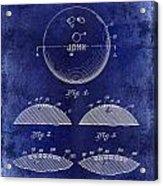 1958 Bowling Patent Drawing Blue Acrylic Print