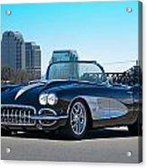 1958 Corvette With Skyline Acrylic Print