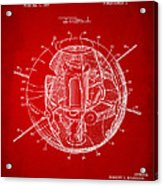 1958 Space Satellite Structure Patent Red Acrylic Print