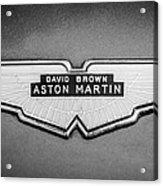 1959 Aston Martin Db4 Gt Hood Emblem -0127bw Acrylic Print