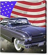 1960 Cadillac Luxury Car And American Flag Acrylic Print