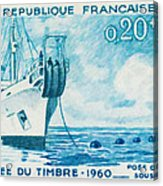 1960 Day Stamp Installation Of A Submarine Cable Acrylic Print