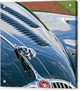 1960 Jaguar Xk 150s Fhc Hood Ornament 3 Acrylic Print