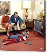 1960s Family In Living Room Watching Tv Acrylic Print