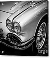 1962 Chevrolet Corvette Black And White Picture Acrylic Print