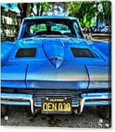 1963 Blue Corvette Stingray-front View Acrylic Print