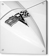 1963 Chevrolet Corvette Split Window Emblem -121bw Acrylic Print