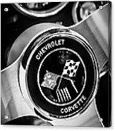 1963 Chevrolet Corvette Split Window Steering Wheel Emblem -309bw Acrylic Print
