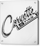1963 Chevrolet Corvette Split Window - Sting Ray Emblem -248bw Acrylic Print