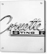 1963 Chevrolet Corvette Split Window - Sting Ray Emblem -252bw Acrylic Print