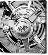 1963 Chevrolet Corvette Split Window Wheel Emblem -478bw Acrylic Print