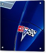 1963 Chevrolet Corvette Sting Ray Fuel Injected Split Window Coupe Hood Emblem Acrylic Print