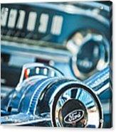1963 Ford Falcon Futura Convertible  Steering Wheel Emblem Acrylic Print by Jill Reger