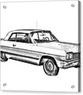 1964 Chevrolet Impala Car Illustration Acrylic Print