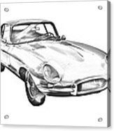 1964 Jaguar Xke Antique Sportscar Illustration Acrylic Print