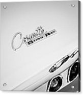 1965 Chevrolet Corvette Convertible Sting Ray Taillight Emblem -0396bw Acrylic Print