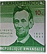 1965 Rwanda Abraham Lincoln Stamp Acrylic Print
