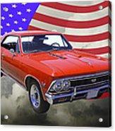 1966 Chevy Chevelle Ss 396 And United States Flag Acrylic Print