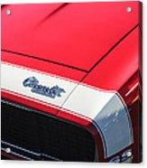 1967 Chevrolet Camaro Ss 350 Convertible Hood Emblem Acrylic Print